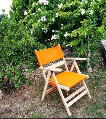 Katlanır Ahşap Sandalye - Atina PVC - Naturel